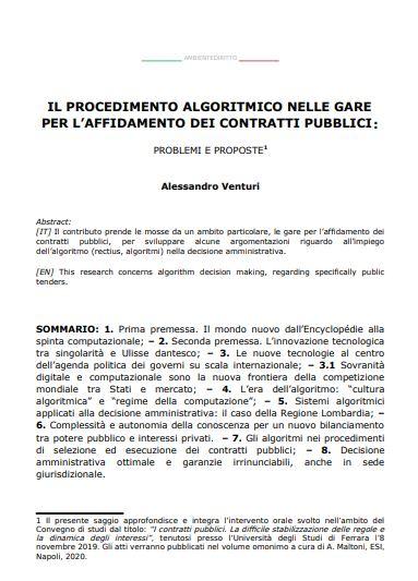 Il procedimento algoritmico nelle gare per l'affidamento dei contratti pubblici
