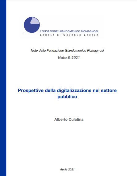 Prospettive della digitalizzazione nel settore  pubblico